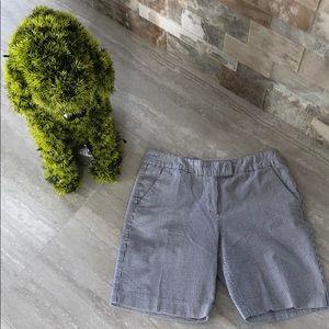 British Khaki striped seersucker shorts